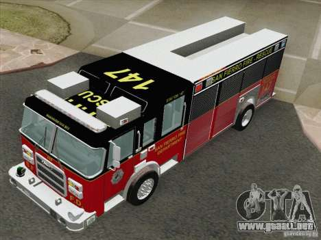 Pierce SFFD Rescue para GTA San Andreas vista hacia atrás