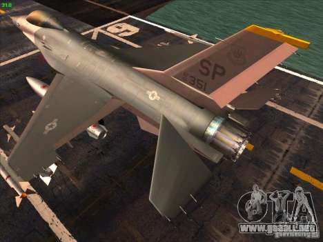 F-16C Fighting Falcon para GTA San Andreas vista posterior izquierda
