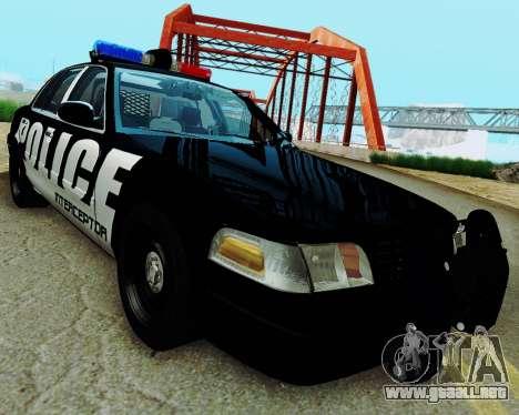 Ford Crown Victoria Police Interceptor 2011 para GTA San Andreas vista posterior izquierda