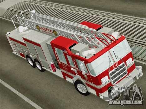 Pierce Arrow LAFD Ladder 43 para GTA San Andreas vista hacia atrás