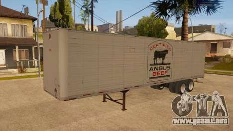 Remolque de todo-metal para GTA San Andreas vista hacia atrás