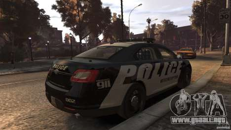 Ford Taurus Police Interceptor 2010 ELS para GTA 4 Vista posterior izquierda