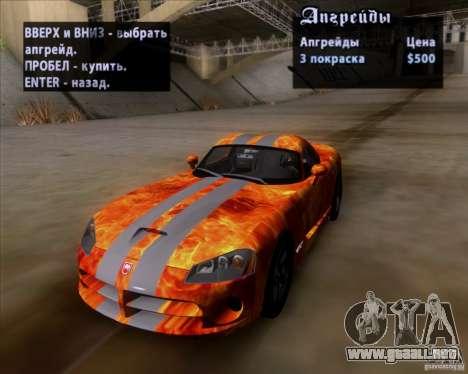 Dodge Viper SRT-10 Coupe para GTA San Andreas interior