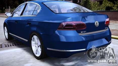 VW Passat B7 TDI Blue Motion para GTA 4 Vista posterior izquierda