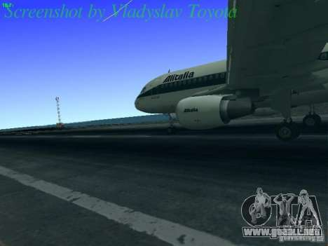 Airbus A320-214 Alitalia v.1.0 para GTA San Andreas vista hacia atrás