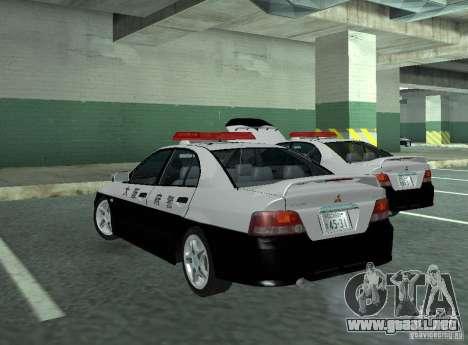 Mitsubishi Galant Police para GTA San Andreas vista posterior izquierda
