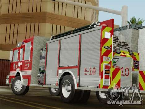 Pierce Saber LAFD Engine 10 para la vista superior GTA San Andreas