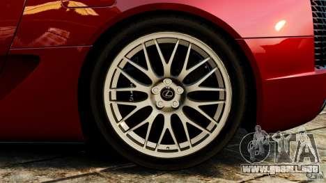 Lexus LFA 2012 Nurburgring Edition para GTA 4 vista lateral