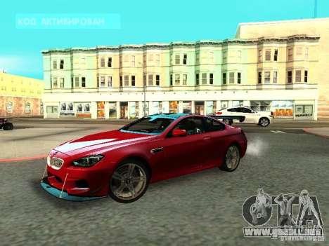 BMW M6 2013 para GTA San Andreas vista posterior izquierda