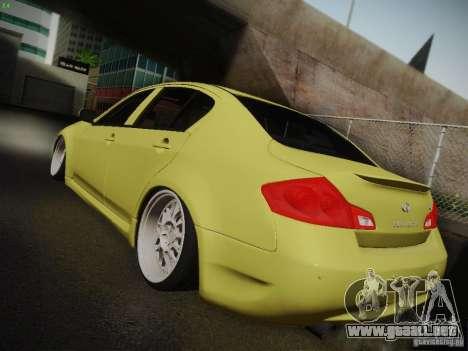 Infiniti G37 Sedan para visión interna GTA San Andreas
