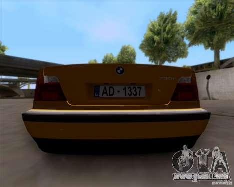 BMW 730i E38 1996 Taxi para GTA San Andreas vista hacia atrás