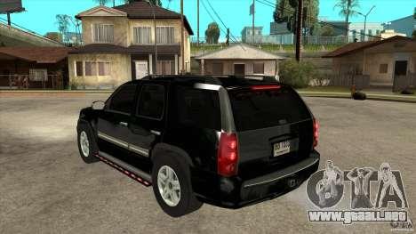 GMC Yukon Unmarked FBI para GTA San Andreas vista posterior izquierda