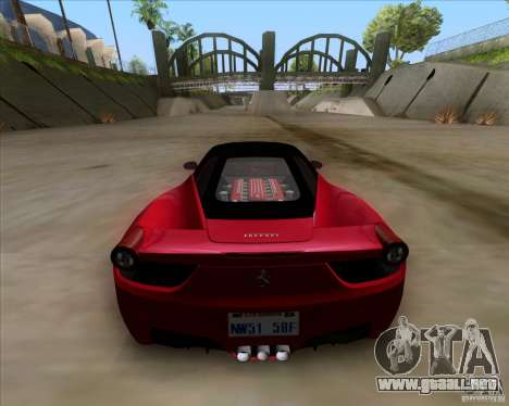 Ferrari 458 Italia V12 TT Black Revel para GTA San Andreas vista posterior izquierda