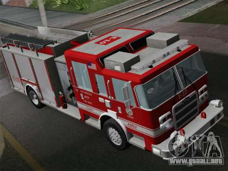Pierce Saber LAFD Engine 10 para GTA San Andreas vista hacia atrás