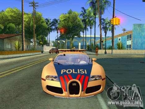 Bugatti Veyron Indonesian Police para GTA San Andreas vista posterior izquierda