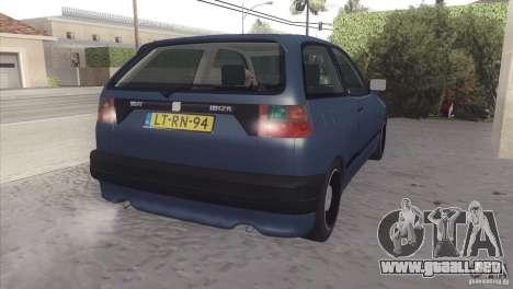 Seat Ibiza GLXI 1.4 1994 para GTA San Andreas vista hacia atrás