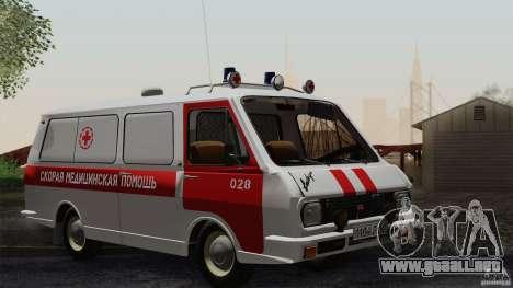 Ambulancia RAF 22031 Latvija para la vista superior GTA San Andreas