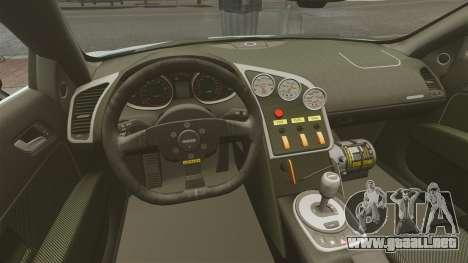 Audi R8 Spider Body Kit para GTA 4 vista interior