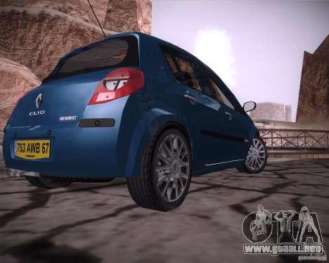 Renault Clio III para GTA San Andreas vista posterior izquierda