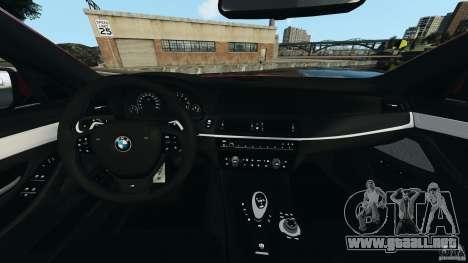 BMW M5 2012 para GTA 4 vista hacia atrás