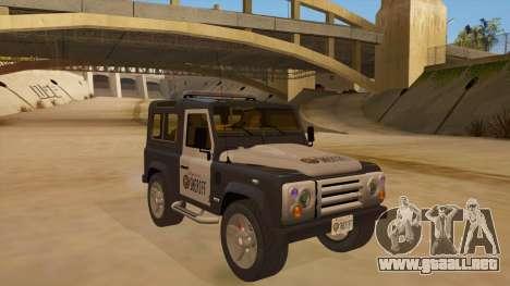 Land Rover Defender Sheriff para GTA San Andreas vista hacia atrás