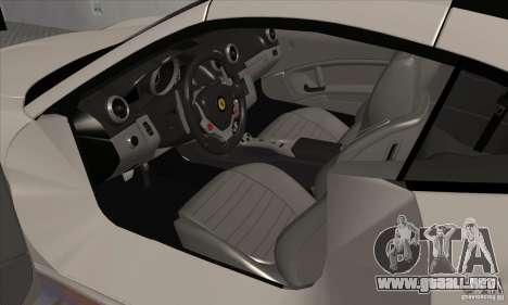 Ferrari California Hamann para GTA San Andreas vista hacia atrás