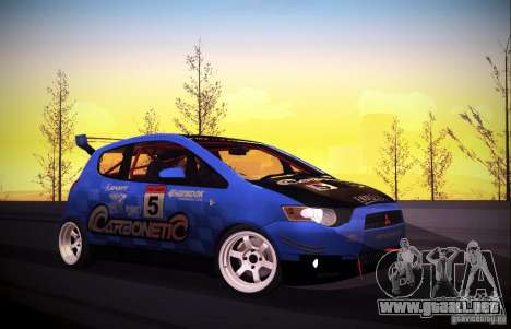 Mitsubishi Colt Rallyart Carbon 2010 para visión interna GTA San Andreas
