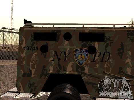 Lenco Bearcat NYPD para GTA San Andreas vista posterior izquierda