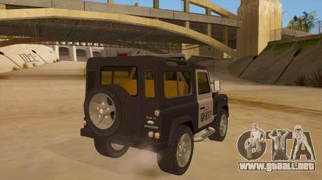 Land Rover Defender Sheriff para la visión correcta GTA San Andreas