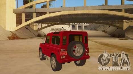 Land Rover Defender para GTA San Andreas vista posterior izquierda