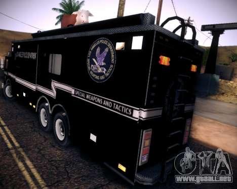 Pierce Contendor LAPD SWAT para GTA San Andreas vista hacia atrás