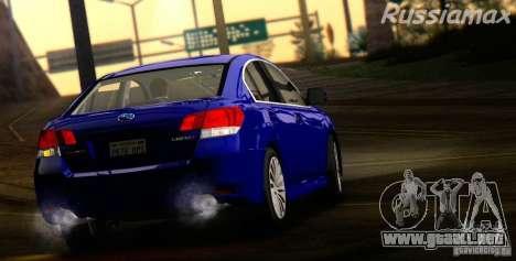 Subaru Legacy B4 2010 para GTA San Andreas vista hacia atrás