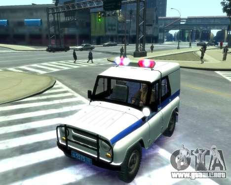 UAZ 31512 policía para GTA 4 vista interior