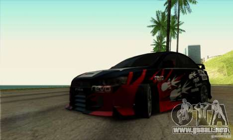 Mitsubishi Lancer Evolution X 2008 para visión interna GTA San Andreas