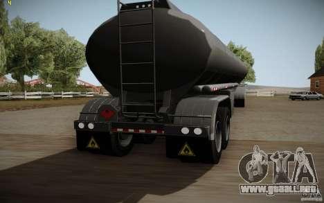 Caravana de cuero crudo de Mack Pinnacle Edition para GTA San Andreas vista posterior izquierda