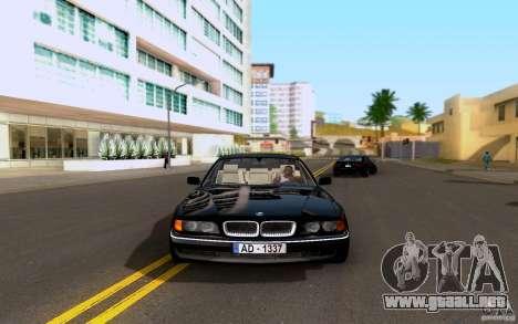 BMW 730i E38 FBI para GTA San Andreas vista posterior izquierda