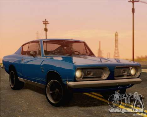 Plymouth Barracuda 1968 para GTA San Andreas vista hacia atrás