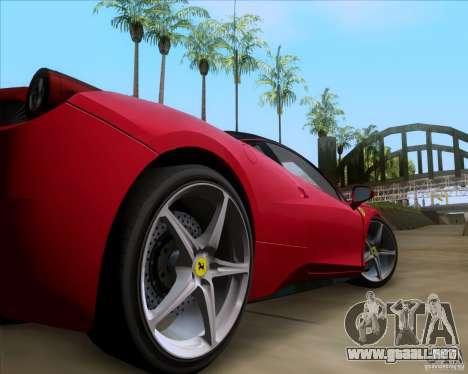Ferrari 458 Italia V12 TT Black Revel para GTA San Andreas vista hacia atrás