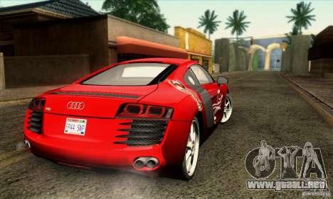 Audi R8 para vista inferior GTA San Andreas