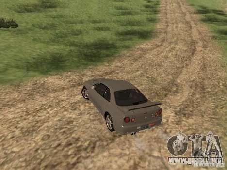 Nissan Skyline GTR R34 para GTA San Andreas vista posterior izquierda