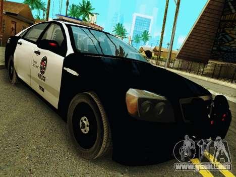 Chevrolet Caprice 2011 Police para GTA San Andreas vista hacia atrás
