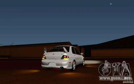 Mitsubishi Lancer Evo VIII GSR para GTA San Andreas vista posterior izquierda