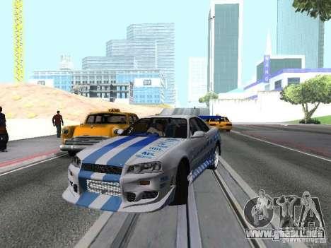 Nissan Skyline GT-R R34 para vista lateral GTA San Andreas