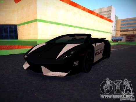 Lamborghini Gallardo LP570-4 Spyder Performante para visión interna GTA San Andreas