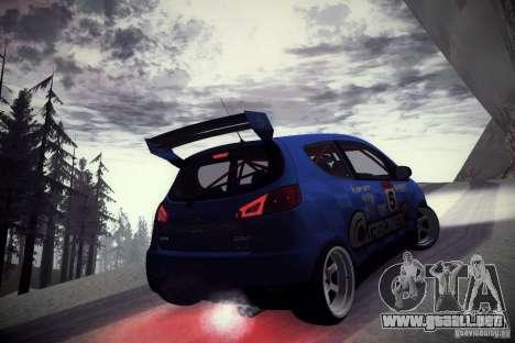 Mitsubishi Colt Rallyart Carbon 2010 para GTA San Andreas vista hacia atrás