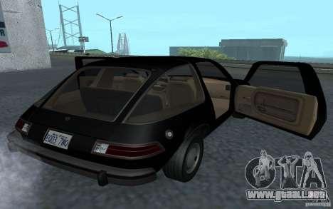 AMC Pacer para GTA San Andreas vista hacia atrás