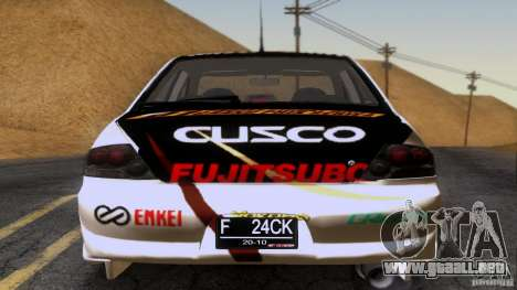Mitsubishi Lancer Evolution 8 para la vista superior GTA San Andreas