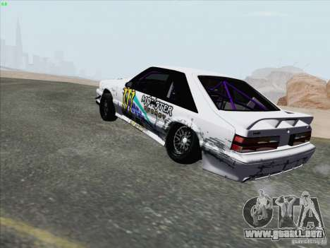 Ford Mustang Drift para GTA San Andreas vista posterior izquierda