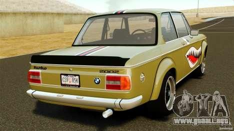 BMW 2002 Turbo 1973 para GTA 4 Vista posterior izquierda