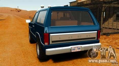Ford Bronco 1980 para GTA 4 Vista posterior izquierda